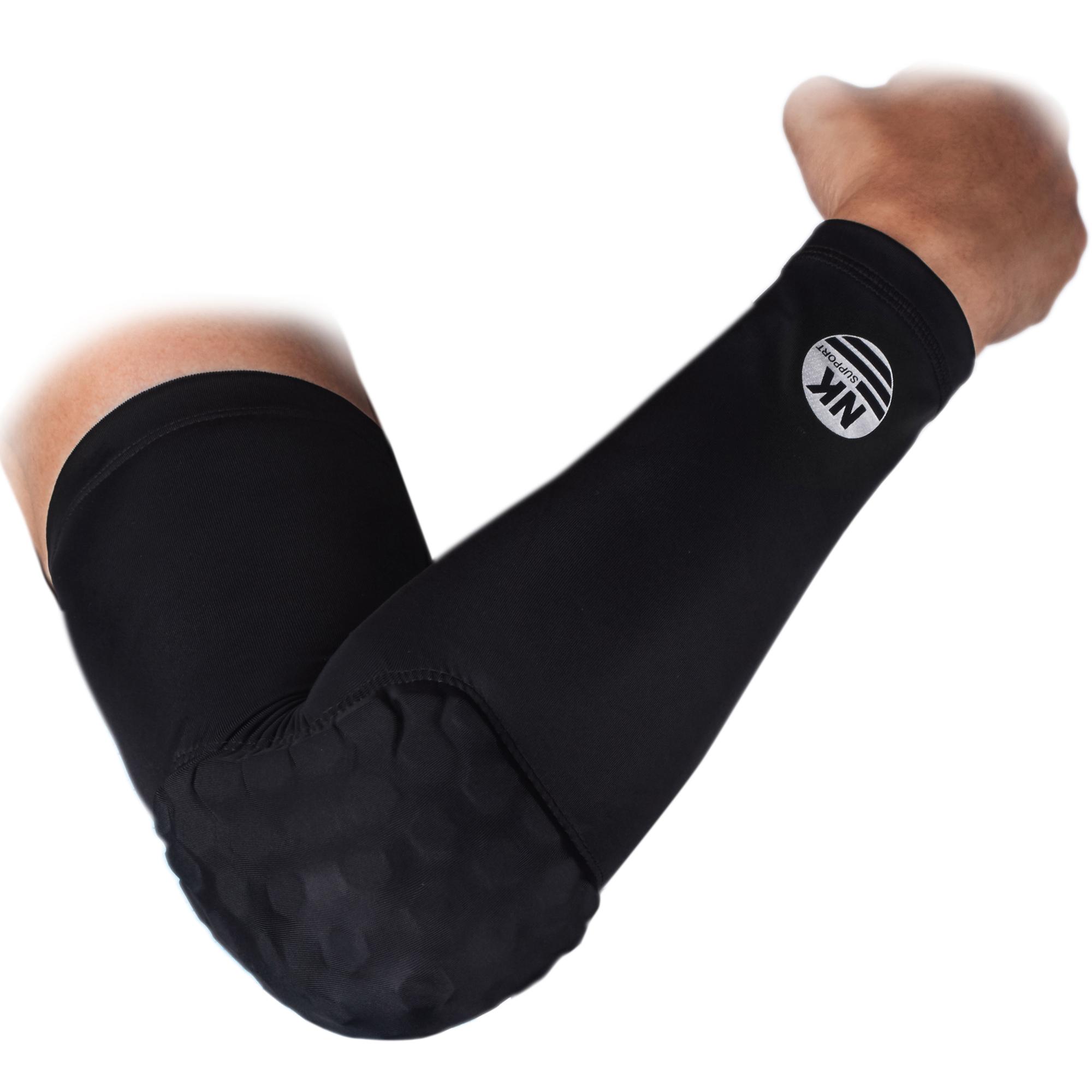 NK SUPPORT Elbow Pad Protector Gear Basketball Volleyball Cycling Shooting Honeycomb Crashproof Long Sleeve Single Black
