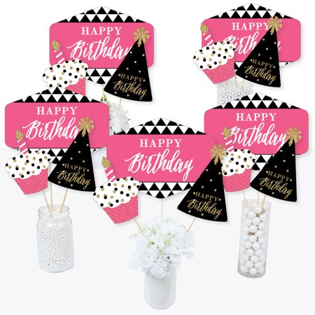 Chic Happy Birthday - Pink, Black and Gold - Birthday Party Centerpiece Sticks - Table Toppers - Set of 15 (Pink And Black Table Centerpieces)