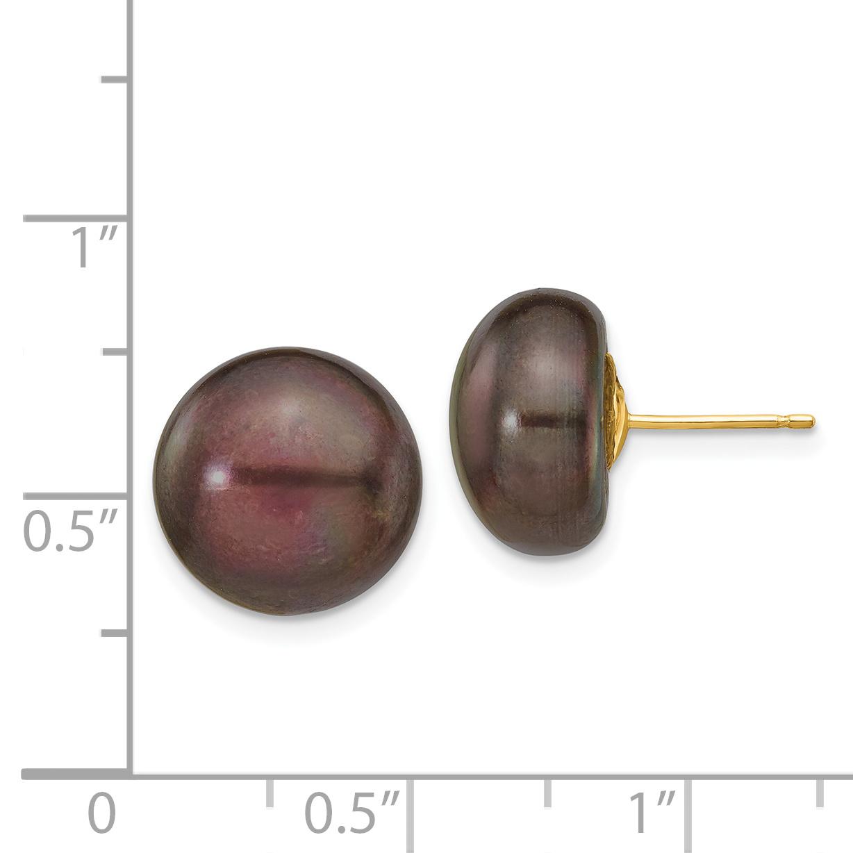 14K Yellow Gold 12-13mm Black Button FW Cultured Pearl Stud Earrings - image 1 de 2
