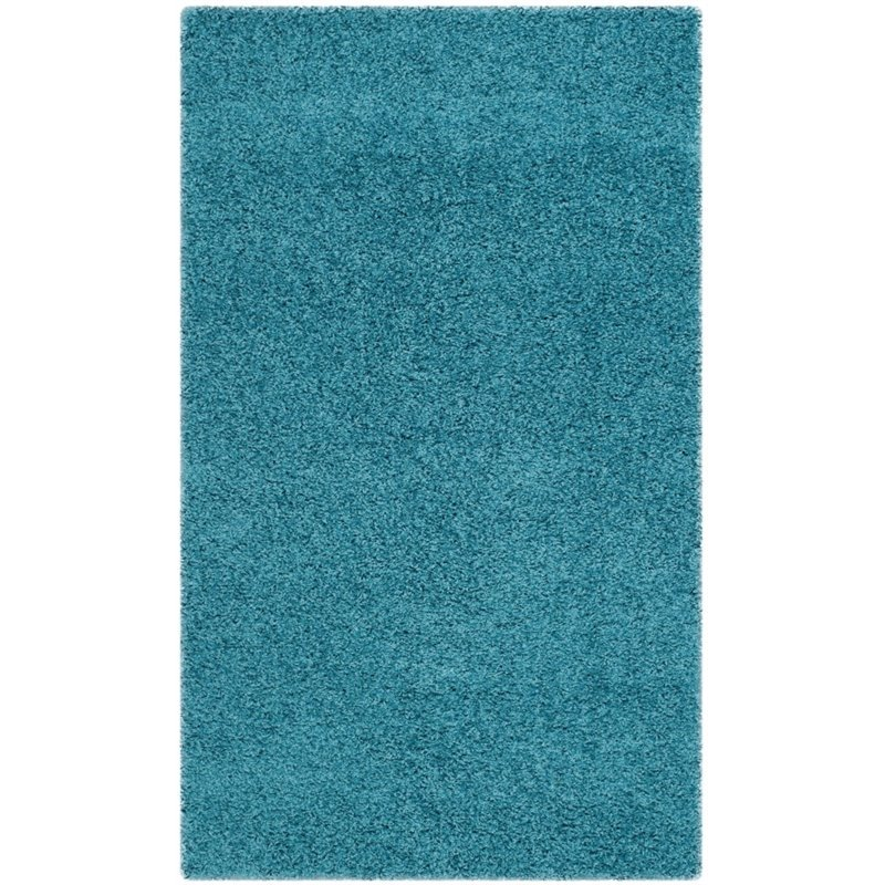 "Safavieh Laguna Shag 6'7"" Square Power Loomed Rug in Turquoise - image 6 of 10"
