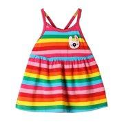 Baby Girls Multi Color Striped Pattern Criss Cross Strap Back Dress 0-6M