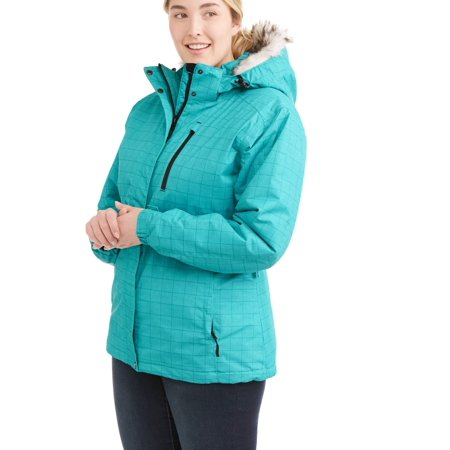 Iceburg Women's Plus Insulated Ski Jacket With Removable Hood