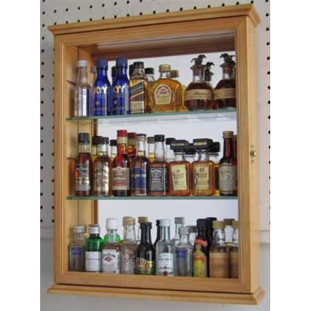 Small Wall Mounted Curio Cabinet Shadow Box, Glass Door, Mirror Background, Solid Wood - Oak Finish (CD06-OA)