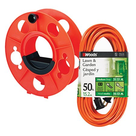 Bayco Kw 130 Cord Storage Reel With Center Spin Handle 150 Feet Bundle Woods Outdoor 50 Ft L Orange 16 2 Extension