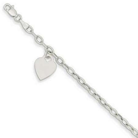 14k White Gold 7in Dangle Heart Bracelet