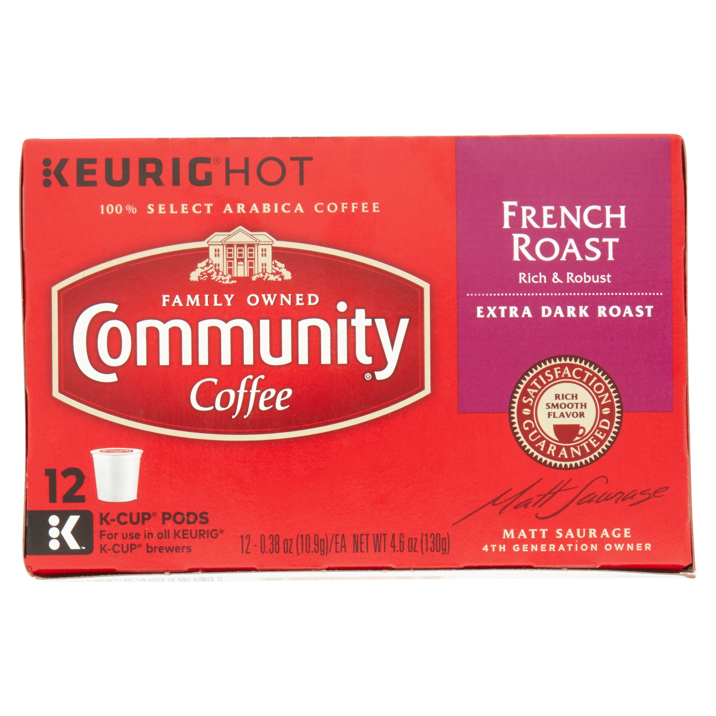 Community Coffee Single-Serve Cups French Roast Extra Dark Roast Coffee, 12 Count