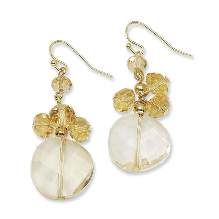 Gold-tone Colorado Champagne Glass Beads Dangle Earrings (Champagne Glass Earrings)
