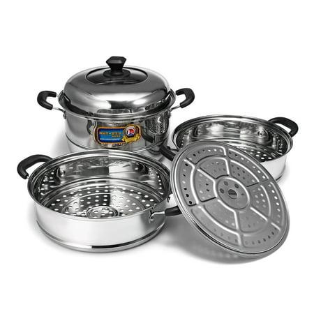 Moaere Stainless Steel 3 Tier Steamer Pot Cookware Avail Steam Kitchen Cooking 11