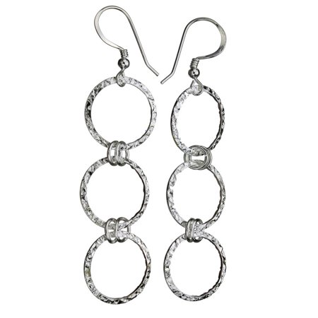 Long Link Earrings - Sterling Silver Flat Hammered Circle Links Long Earrings Italy