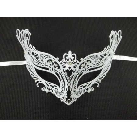 White Crystal Royal Princess Laser Cut Venetian Mask Masquerade Metal -
