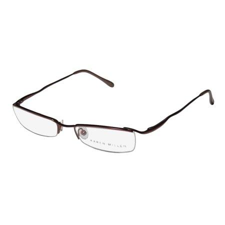 New Karen Millen Km0047 Womens/Ladies Designer Half-Rim Brownish Copper Unique Design Half-rim Frame Demo Lenses 50-17-135 Spring Hinges Eyeglasses/Eyewear