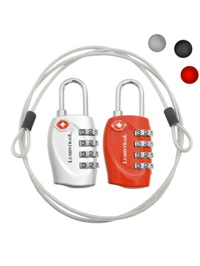 2 Pack Lumintrail TSA Approved All Metal International Travel Luggage 4 Digit Resettable Combination Lock with 4-ft Steel Cable for Suitcase and Baggage - Assorted Colors