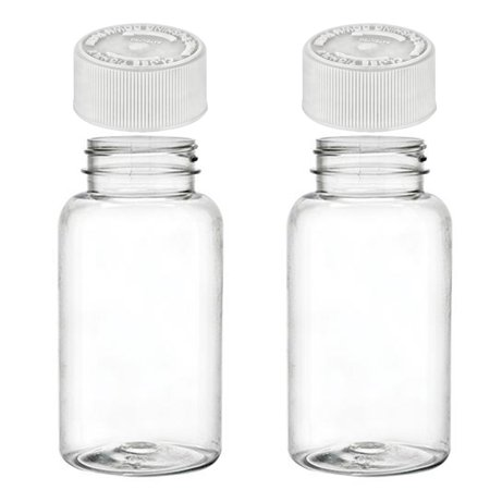 2 Empty Plastic Pill Bottles Cap Medicine Container Vitamin Capsule Case Holder (Pills Bottle)