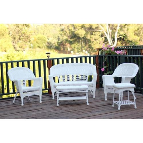 Jeco W00206-G-OT 5 Piece White Wicker Conversation Set