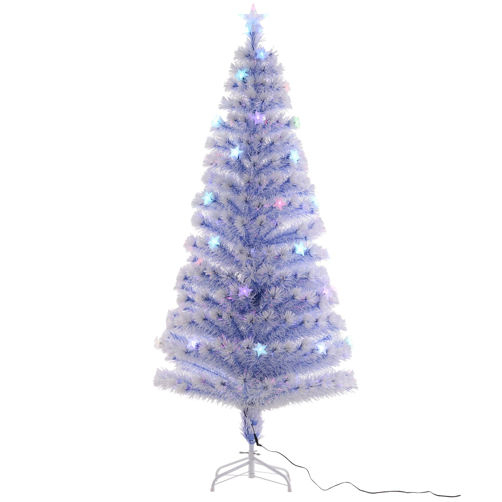 6 Prelit Fiber Optic Artificial Christmas Tree With 26 Led Lights White Blue Walmart Com Walmart Com