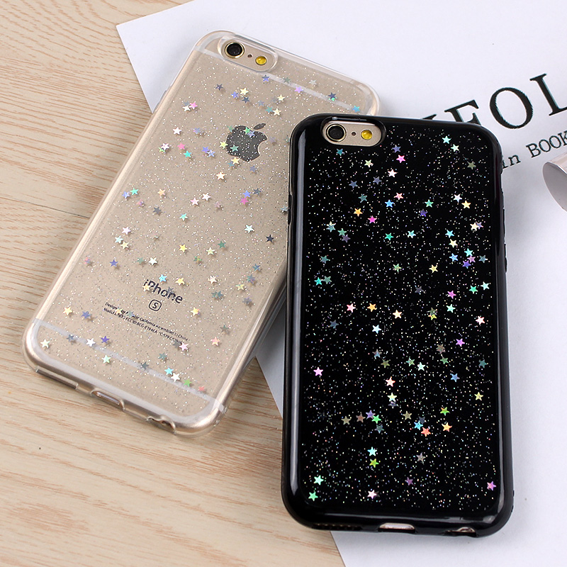 "For iPhone 8 Plus 5.5"" TPU Rubber Gel Skin Stars Holographic Case Cover Sparkle Shiny Glitter (Clear)"