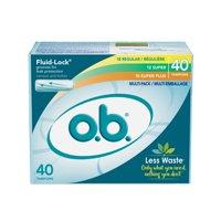 o.b. Original Applicator-Free Multipack Tampons, Unscented, 40 Ct