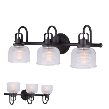 Oil Rubbed Bronze Vanity Light 3 Bulb Bath Wall Fixture Clear Double Prismatic Glass (Light Wall Fixture 3 Bulbs)