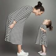 Family Clothing Matching Mother And Daughter Clothes Striped Dresses Outfits hot