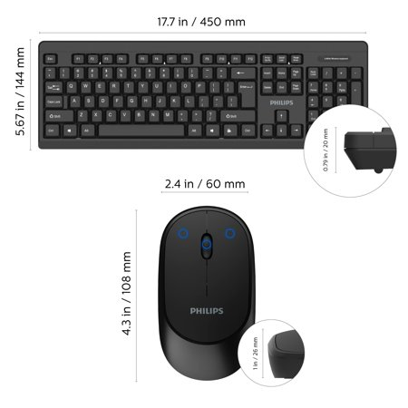 PHILIPS Wireless Keyboard and Mouse Combo | Ambidextrous, Low-Profile | Adjustable DPI Mouse, Full-Sized Keyboard, | Plug and Play for Windows, Laptop, PC or Notebook (SPT6324)