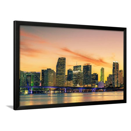 Famous City of Miami, Summer Sunset Framed Print Wall Art By prochasson (Spirit Halloween Sunset Miami)