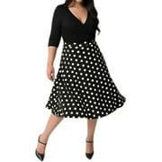 Women's Crossover V Neck 3/4 Sleeves Dots Paneled A Line Dress Black XL