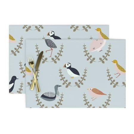 Image of Cloth Placemats Scandinavian Birds Scandi Gender Neutral Baby Arctic Set of 2