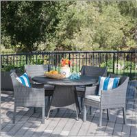 Leo Outdoor 5 Piece Wicker Round Dining Set with Cushions, Grey, Silver
