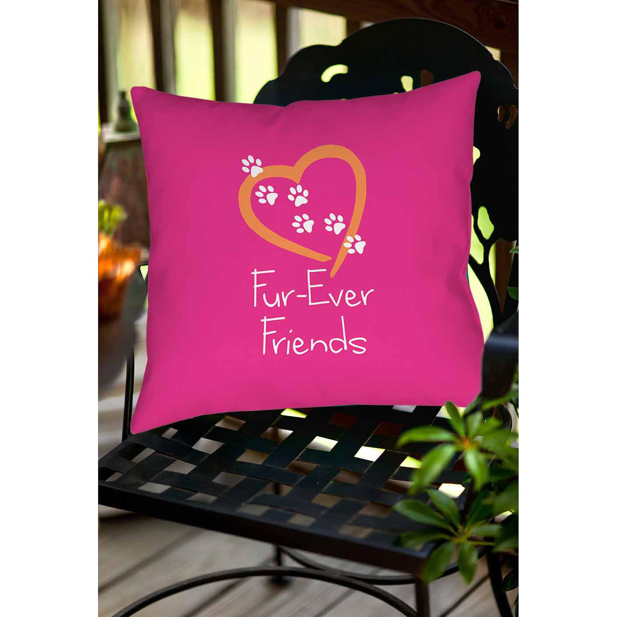 Thumbprintz Forever Friends Pink Indoor/Outdoor Pillow