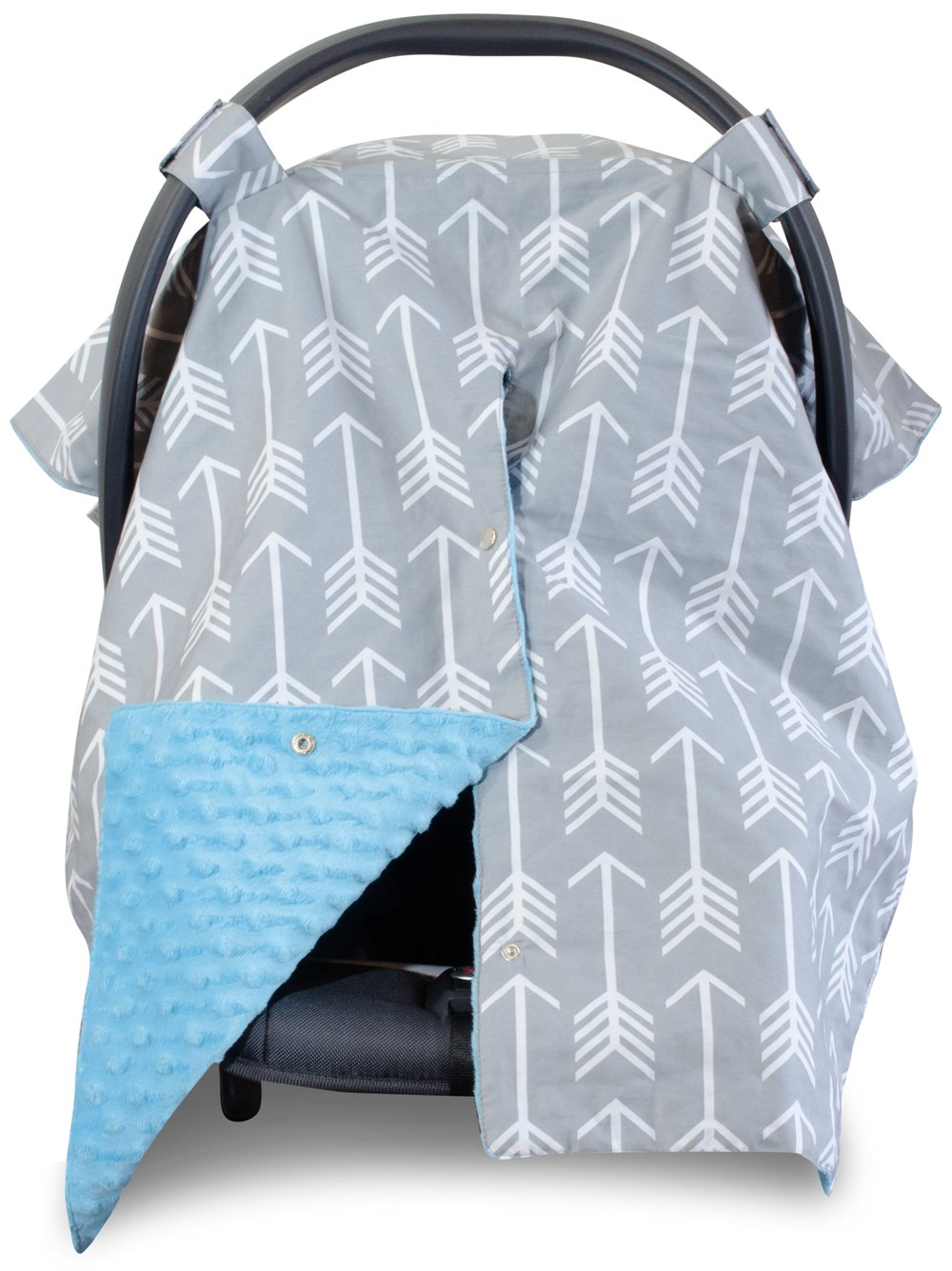 Kids N' Such 2 in 1 Car Seat Canopy Cover with Peekaboo Opening Large Arrow Carseat Cover with Blue Dot Minky... by Kids N%27 Such