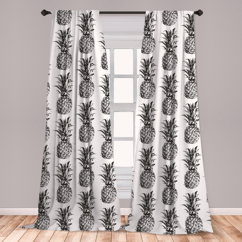 Pineapple Curtains 2 Panels Set, Hand Drawn Tropical Theme