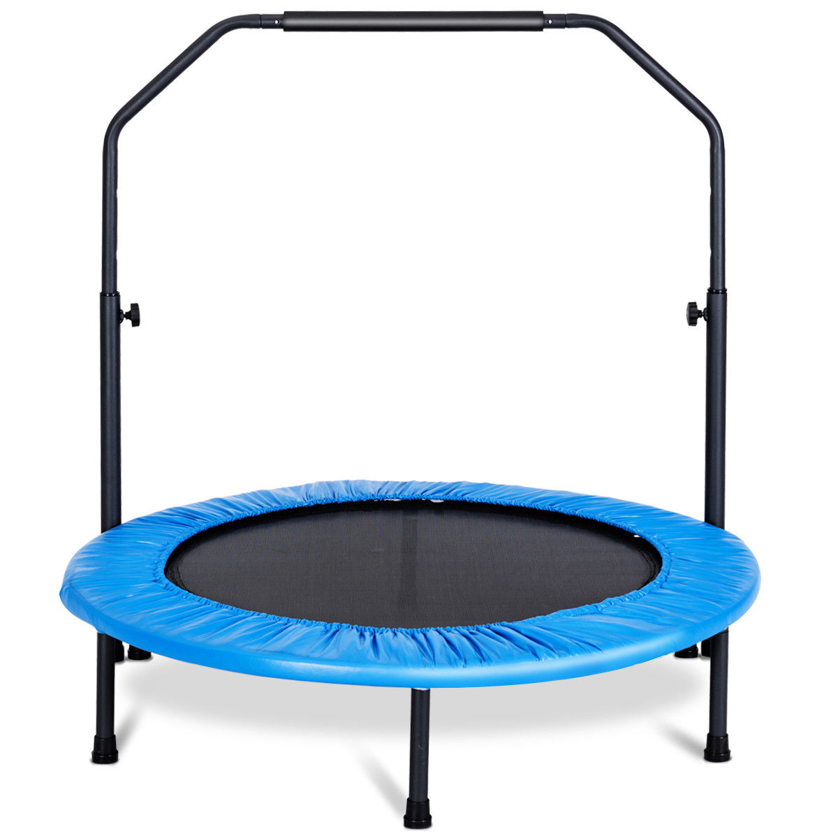 Gymax Mini Rebounder Trampoline With Adjustable Hand Rail Bouncing Workout Exercise