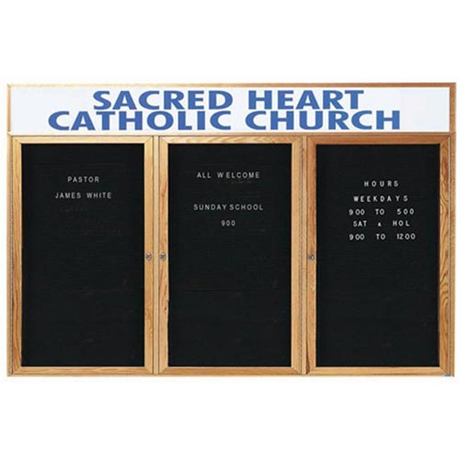 Aarco Products ODC3672-3H 3-Door Enclosed Changeable Letter Board with Header - Oak