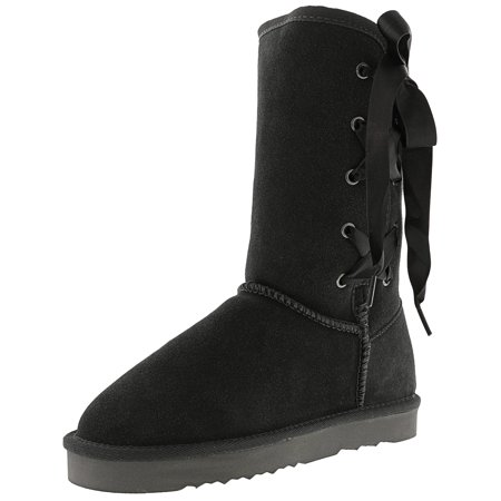 Women's Aliciah Grey Mid-Calf Leather Boot - 5M (Gay Boots)