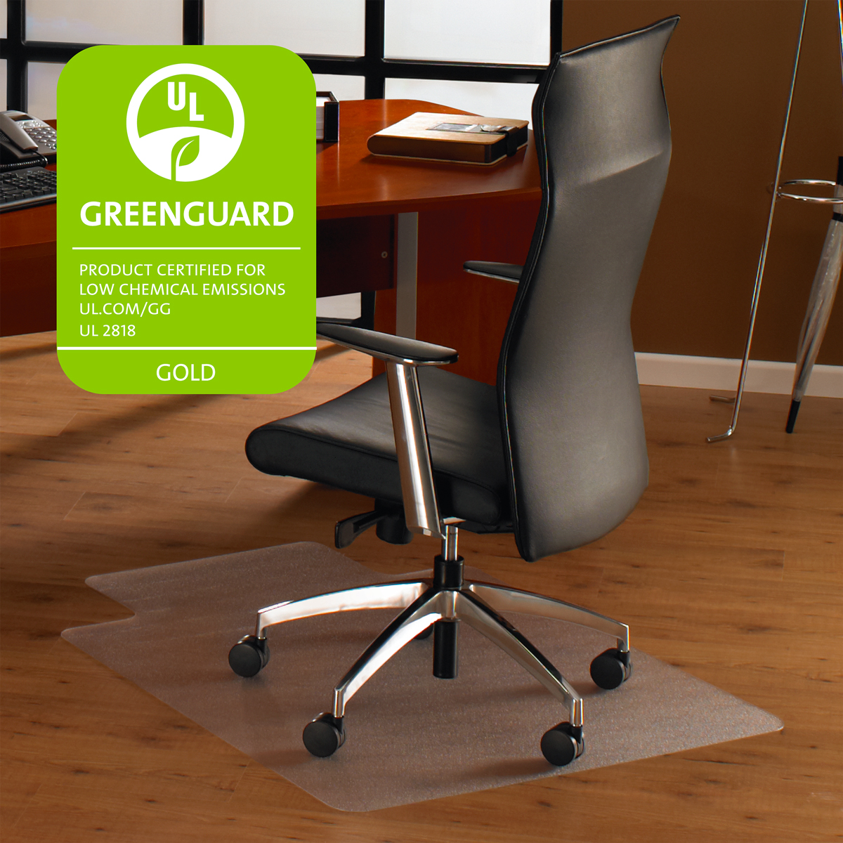"Cleartex Ultimat Chair Mat | Rectangular With Lip |Clear Polycarbonate | For Hard Floor | Size 35"" x 47"""