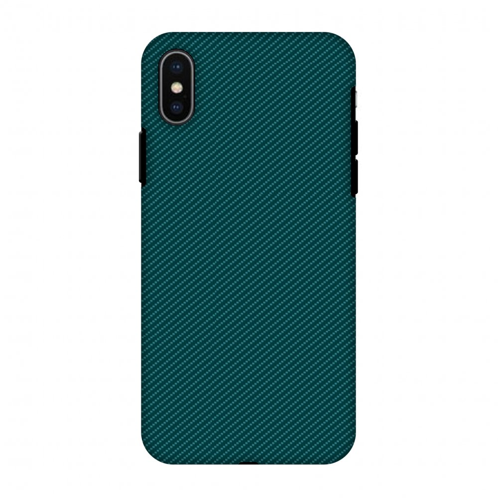 iPhone X Case, Premium Heavy Duty Dual Layer Handcrafted Designer Case ShockProof Protective Cover with Screen Cleaning Kit for iPhone X - Shaded Spruce Texture, Flexible TPU, Hard Shell