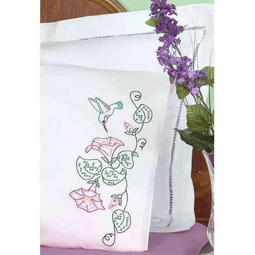 Jack Dempsey Stamped King Pillowcases with White Perle Edge, 2pk