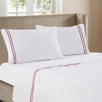 Luxen Home 4pc Burgundy Line Embroidery on White 300TC Sateen Sheet Queen