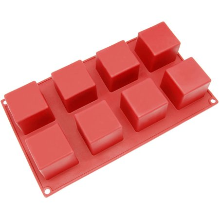 Freshware 8-Cavity Square Cube Silicone Mold for Ice, Muffin, Soap, Brownie, Cheesecake and Pudding, SL-133RD