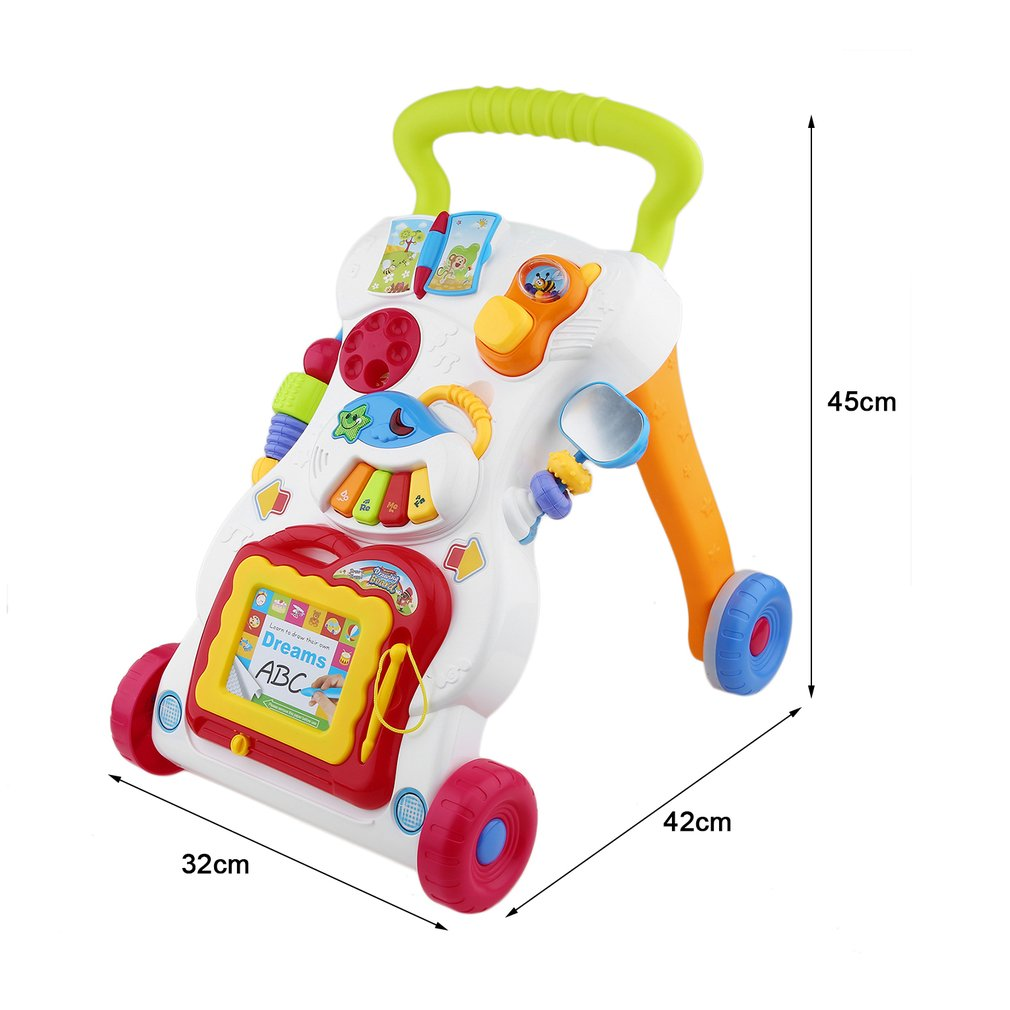 Upgraded Baby Walker Multifunctional Toddler Trolley Sit-to-Stand Walker for Kid's Early Learning with Adjustable Screw(Multicolor)