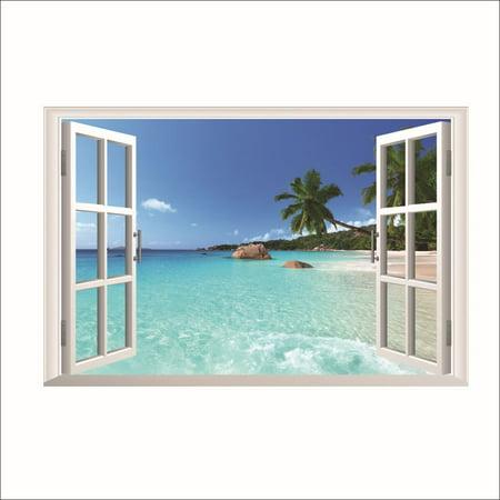 Large Removable Beach Sea 3D Window Decal WALL STICKER Home Decor Exotic Beach View Art Wallpaper Mural ()