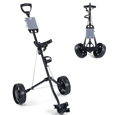 Costway Foldable 2 Wheel Push Pull Golf Cart /Cup Holder Trolley Swivel Steel Light (2 Wheel)