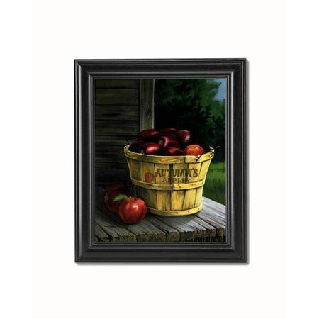 Autumn Apples in Basket on Porch Cabin Black Framed 8x10 Art - Black Apples
