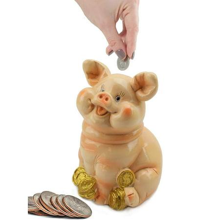 Pig Money Bank (Sitting Pig on Gold Coins Money Piggy Bank Coin Bank)