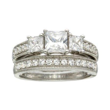 believe by brilliance sterling silver cz princess cut 3 stone bridal set