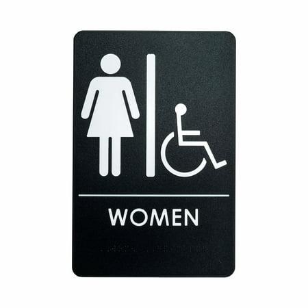 Rock Ridge Women Restroom Sign Black/White - ADA Compliant