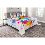 Soccer Bedspread Set, Colored Splashes All over Soccer Balls Score World Cup Championship Athletic Artful, Decorative Quilted Coverlet Set with Pillow Shams Included, Multicolor, by Ambesonne