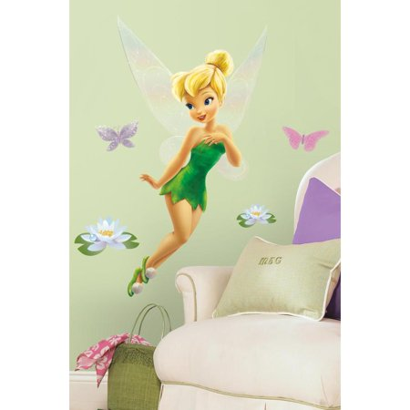 TINKERBELL GIANT Glittery WALL DECALS Disney Fairy Tinker Bell Stickers Decor (Tinkerbell Room Decor)