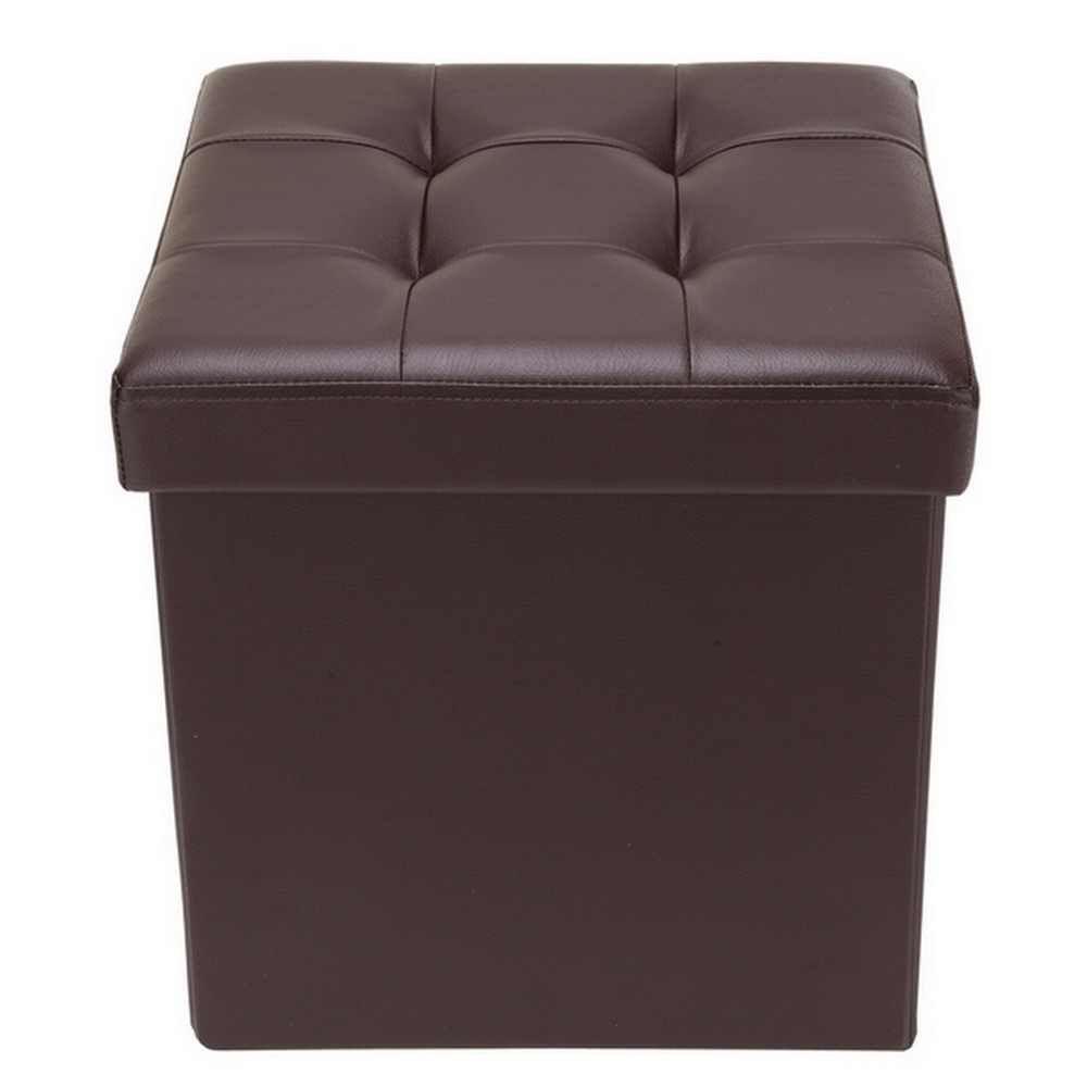 """Homegear 15"""" Folding Storage Ottoman   Footstool   Bench Brown by"""