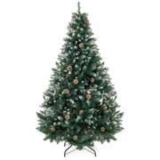 Best Choice Products 6ft Hinged Artificial Christmas Tree Holiday Decor w/ Snow Flocked Tips, Pine Cones, Metal Stand